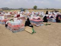 منظمة الهجرة ومركز سلمان يقدمان مساعدات إيوائية وغذائية للنازحين بأبين